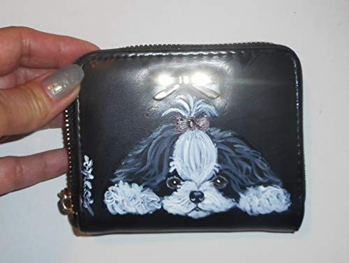 Shih tzu Dog Hand Painted Coin Purse Pouch Mini Wallet