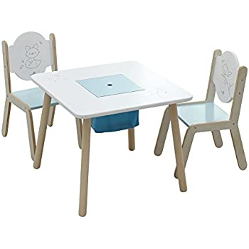 Labebe Wooden Activity Table Chair Set Bird Printed White Toddler Table with Bin for 1  sc 1 st  Amazon.com & Amazon.com: Labebe Wooden Activity Table Chair Set Bird Printed ...