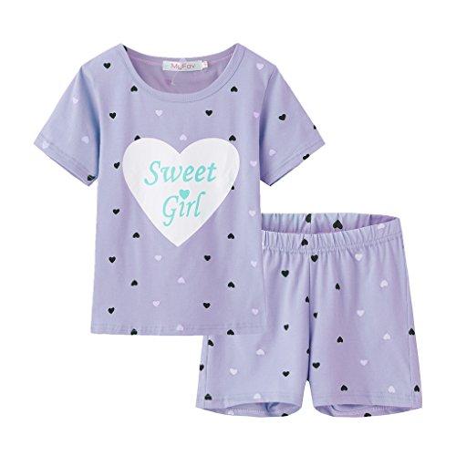 MyFav Big Girls Summer Pajama Set Heart Shape Printed Cute Sleepwear Shorts ()