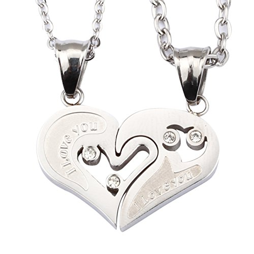 Stainless Steel Love U Pendant Necklace (Gold Plated) - 5