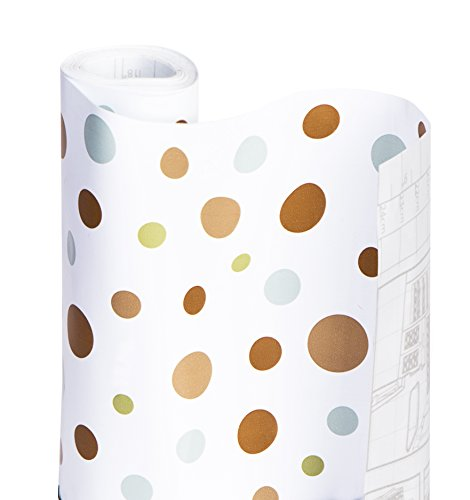 Smart Design Shelf Liner w/Adhesive - Wipes Clean - Cutable & Removable Material - Easy Peel Design - for Shelves, Drawers, Flat Surfaces - Kitchen (18 Inch x 20 Feet) [Dizzy Dots]