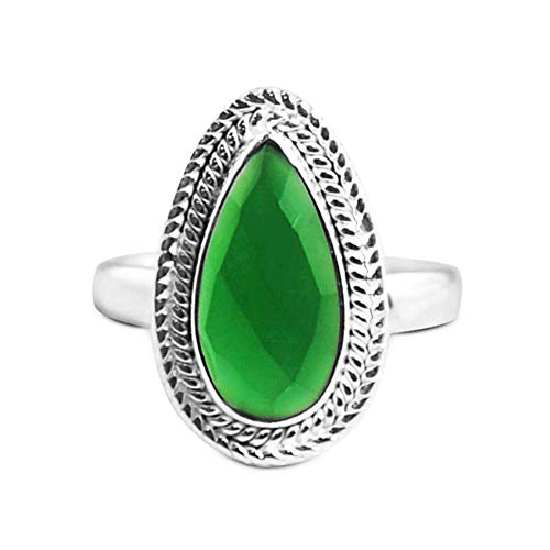 Sivalya 925 Sterling Silver Cushion Cut Natural Green Onyx Gemstone Ring Size 7 Beautiful Teardrop Stone Ring for Women Handcrafted in Solid Silver