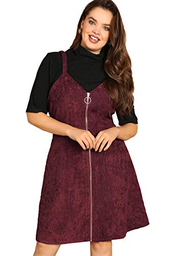 Romwe Women's Plus Size Straps A-line Zipper Up Corduroy Pinafore Bib Overall Dress Burgundy 0XL