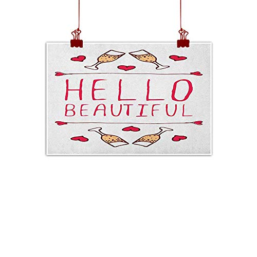 - Fabric Cloth Rolled Hello,Saint Valentines Day Celebration Theme Text Typography and Glasses of Champagne, Peach Red White 36