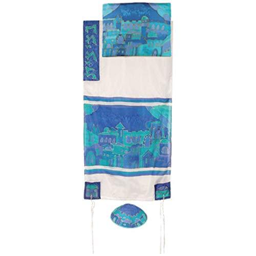 Jerusalem Gate in Blue Cotton and Silk Tallit Prayer Shawl Set - by Yair Emanuel - Size 21