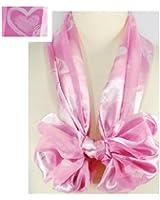 """Scarf / Belt ~ Valentine ~ Pink with White Hearts ~ 13"""" x 60"""" Satin Stripe"""