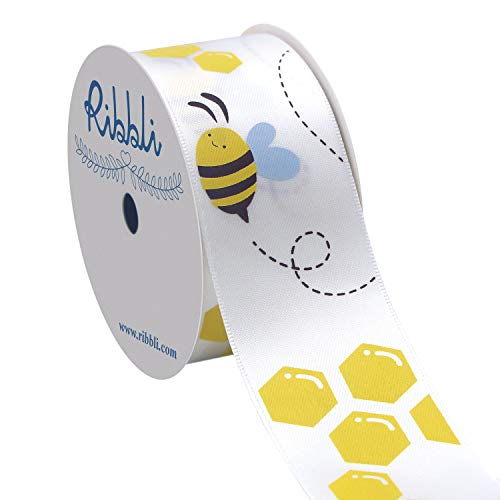 Ribbli Satin Bee Craft Ribbon,1-1/2 Inch x 10 Yard,Yellow/White/Brown,Use for Hair Bows,Wreath,Birthday,Baby Shower,Diaper Cake,Gift Wrapping,Party Decoration,All Crafting and Sewing