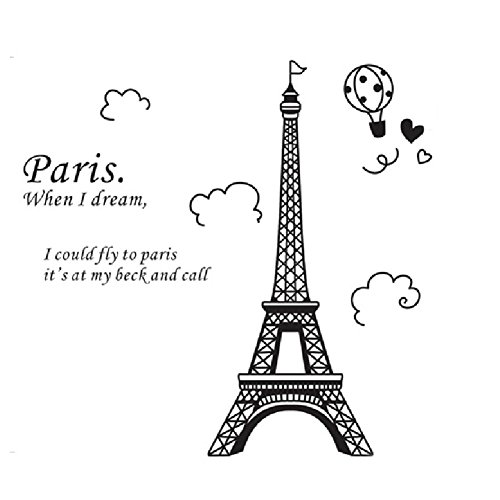 1 x eiffel tower diy removable art vinyl wall sticker decor mural decal amazon com