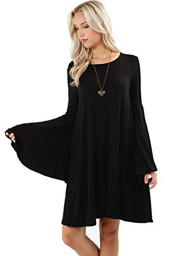 (12 Ami Bell Sleeve Loose Flowy T-Shirt Midi Dress Black M,Medium)