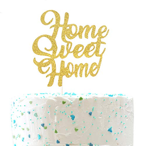 Welcome Home Baby Party Decorations (Home Sweet Home Cake Topper,Welcome Home Sign, New House Housewarming Party Decorations (Double Sided Gold Glitter)