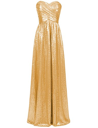 Wedding Dress Prom Gold Long Evening Sequins Sweetheart Dresses Cdress Bridesmaid Maxi XBF4qFw
