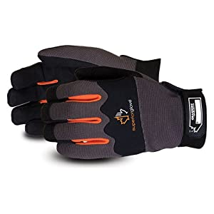 Superior MXBE Clutch Gear Synthetic Leather Mechanics Gloves, Water-Resistant Work Gloves (1 Pair of Medium Black & Orange Gloves)