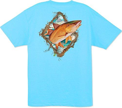 Guy Harvey Redfish Fame S/S Pocket T-shirt (Medium, Pool Blue)