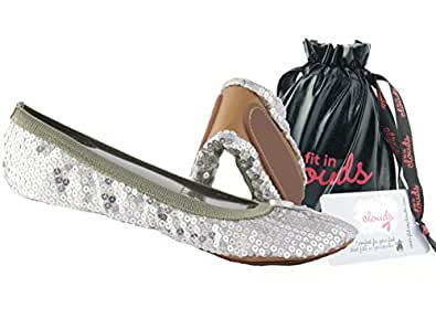 Sequin Foldable Portable Flats That fold and fit in a Bag (6, Silver)