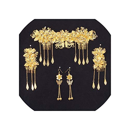 Chinese Oriental Wedding Hair Accessories Gold Hair Combs Set Crown Headband Metal Forehead Bridal Jewelry Headdress,Same As Picture