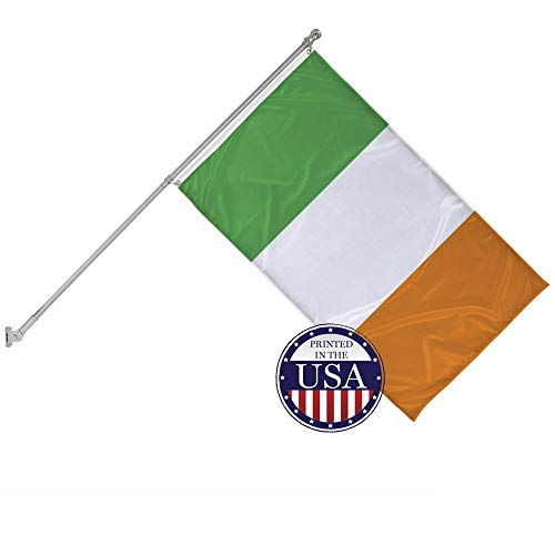 Vispronet - Ireland's National Flag and 6ft Flagpole with Wall Mounting Bracket - 3ft x 5ft Knitted Polyester Flag, World Flag Collection, Flag Printed in The - Collection Ireland