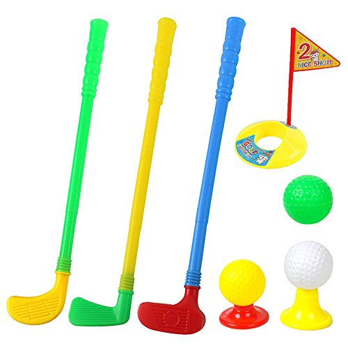 ORZIZRO Plastic Golf Clubs, Educational Golf Toys Sets for Toddlers Kids, Sturdy & Multi-Colored ...