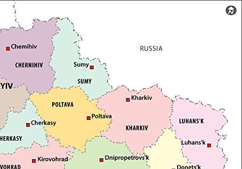 Ucrania Mapa Político – LAMINADO (36