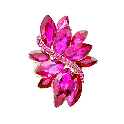 Rosemarie Collections Women's Dazzling Crystal Leaf Stretch Cocktail Ring (Fuchsia)