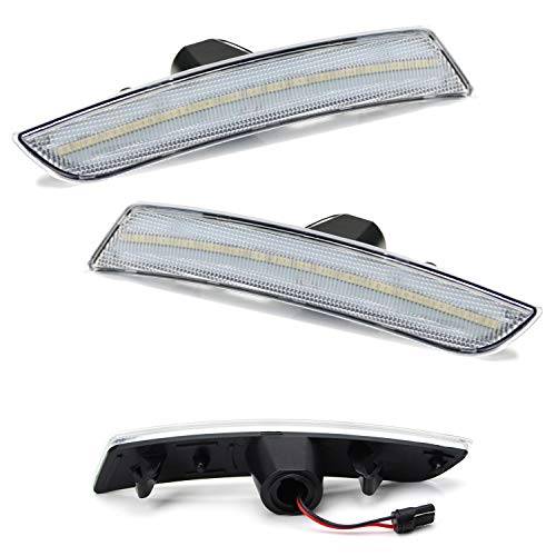 iJDMTOY (2) Clear Lens Amber LED Front Sidemarker Lamps For 16-up Chevy Camaro, 14-up Cadillac CTS, 15-up Cadillac ATS (Powered by 90 Pieces of SMD LED Lights) -