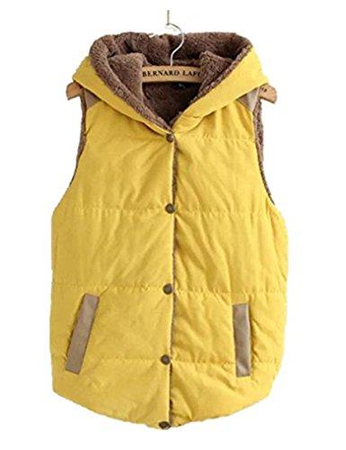 Women Autumn Plus Size Slim Jacket Furry Hoodie Vest Coat Waistcoat (XXL, Yellow)