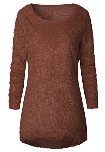 a Maniche Lunghe Girocollo Lungo con Fondo Asimmetrico Invernale Caldo Pullover Sweater Maglione Maglia Jumper a Tunica Top Caff