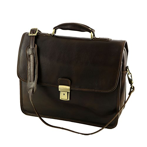 Aktentaschen Leder - 4006 Dunkelbraun - Echtes Leder Tasche - Mega Tuscany