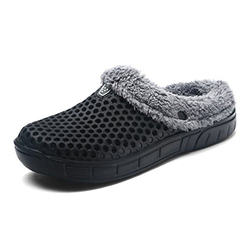 Cooga Womens House Slippers Sticking Lining Warm Fleece Clogs Black 5IP1X6