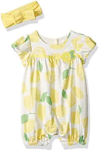 The Children's Place Girls' Sweet Li'l Lemon Print Romper