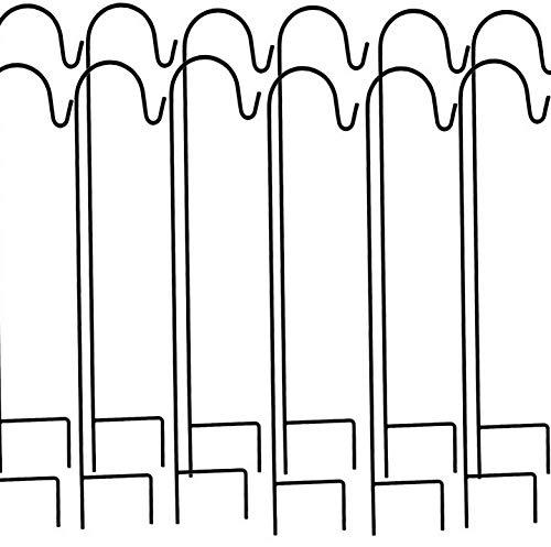 Kaputar Ashman Shepherd's Hooks, Black, Set of 12 Made of Premium Metal for Hanging Solar s, Bird Feeders, Mason Jars, Flower Basket, Christmas s, Lanterns, Garden Stakes and Decor | -