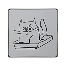 Metal square fridge magnet with Cat in the litter box