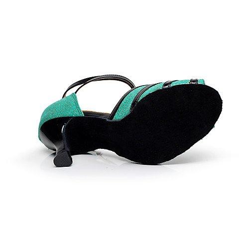 Shoes Stiletto T HeelBeginner Sparkling Dance T Light Professional Women's Q Light Green Glitter Green qIxwx80