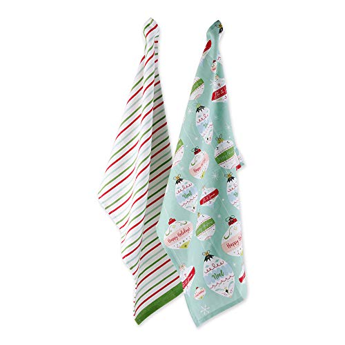 DII Cotton Christmas Holiday Decorative Dish Towels, 18x28, Set of 2-Holiday Ornaments and Stripes