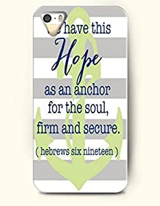 OOFIT Apple iPhone 5 5S Case - christian quotes - grey and white stripes We Have This Hope As An Anchor For The Soul, Firm And Secure Hebrew 6:19