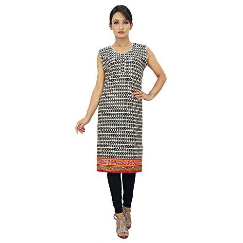 Diseño étnico indio de Bollywood mujeres ropa casual vestido superior de la túnica Beige y Negro