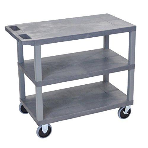 LUXOR EC222HD-G Cart with 3 Flat Shelves, 18