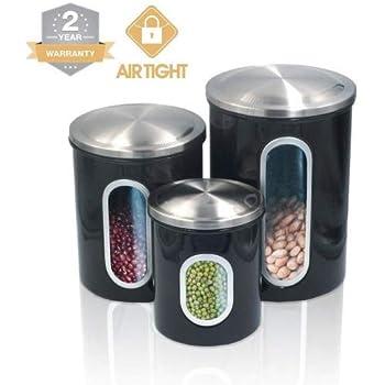Food & Kitchen Storage Smart Bread Bin & Canister Set Coffee Sugar Tea Stainless Steel Jar Holder Kitchen Cookware, Dining & Bar