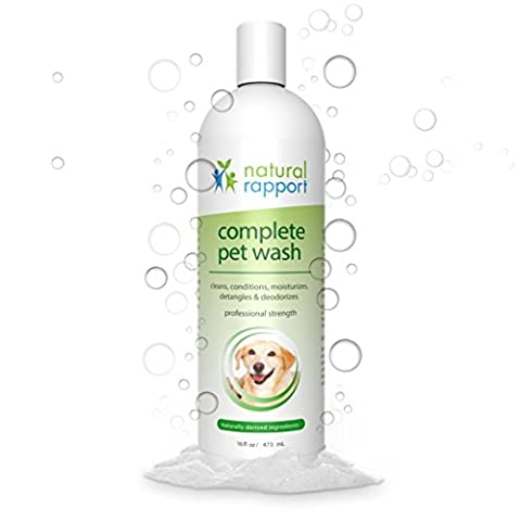 Natural Rapport Dog Shampoo & Conditioner - Complete 5-in-1 Natural Pet Wash - Cleans, Conditions, Deodorizes, Moisturizes & Detangles - Amazingly Fresh Scent that Wipes Out Wet Dog (Dog Conditioner For Poodles)