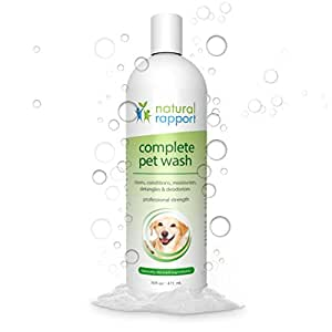Natural Rapport Dog Shampoo & Conditioner - Complete 5-in-1 Natural Pet Wash - Cleans, Conditions, Deodorizes, Moisturizes & Detangles - Amazingly Fresh Scent that Wipes Out Wet Dog Odor