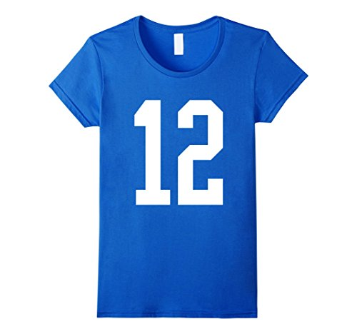 Hockey Fan Costume Ideas (Womens #12 White Number 12 Sports Fan Jersey Style T-Shirt Medium Royal Blue)