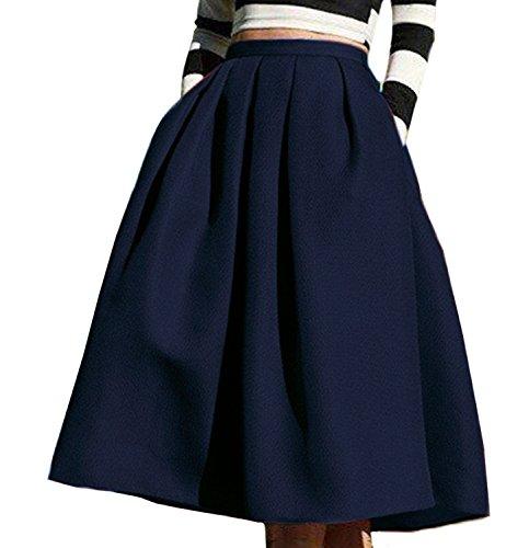 Winfon Femme Jupe Patineuse Taille Haute Vintage Mi Longue Chic Rtro Midi Jupe Plisse Bleu Marine