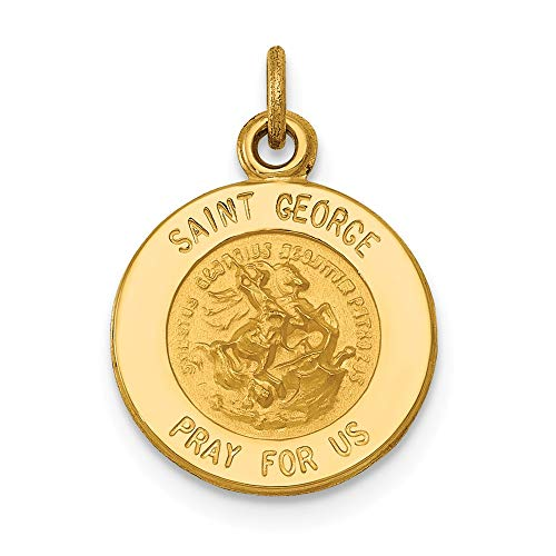 - 14k Yellow Gold Saint George Medal Pendant Charm Necklace Religious Patron St Fine Jewelry Gifts For Women For Her