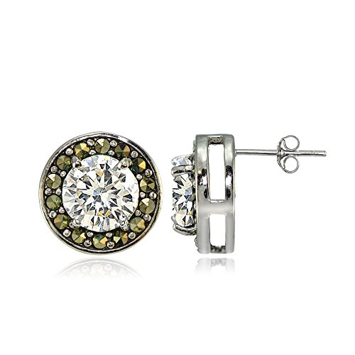 Round Marcasite Set - Sterling Silver Cubic Zirconia and Marcasite Halo Stud Earrings