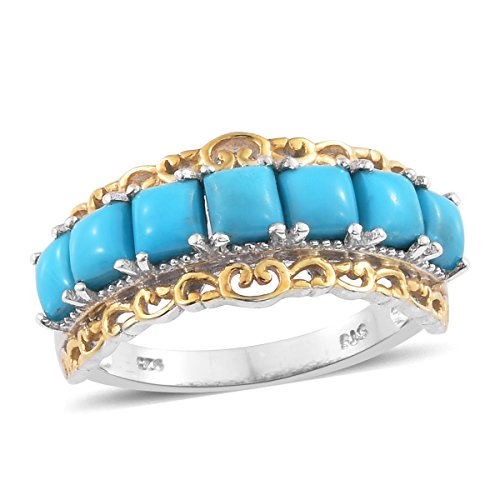 Sleeping Beauty Turquoise 14K Yellow Gold and Platinum Plated Silver Ring Size 5 14k Yellow Gold Turquoise Ring