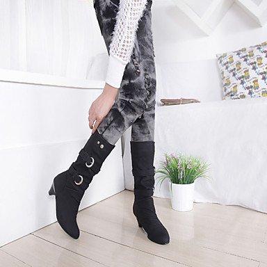 DESY de femme chaussures PU (polyuréthane) automne hiver confortable bottes carré pointe ronde avec pour Casual Noir Gris Jaune noir i5erd