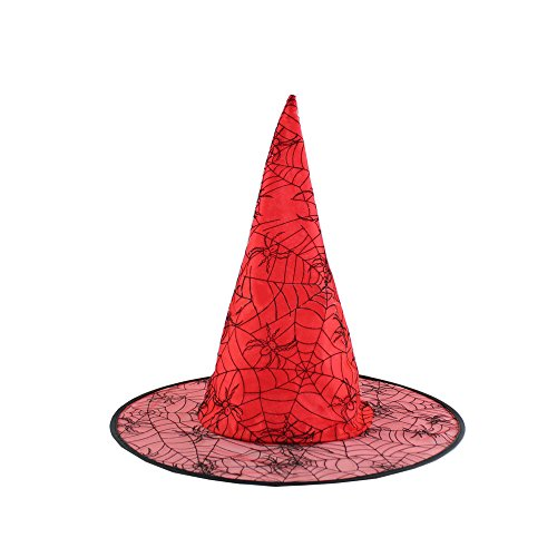 [Absolutely Perfect Adults Unisex Halloween Black Witch Hat Fancy Dress Costume Accessory Red Spider] (Make Moon Knight Costume)