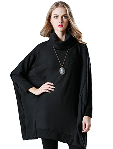 Mordenmiss Women's Oversized Sweater Spring Day Shirt (Style 5-Black) by Mordenmiss