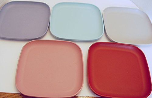 Vintage Tupperware Set of 5 Square Luncheon Plates 8 Inches