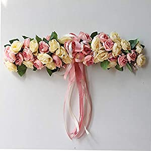 Artificial & Dried Flowers - Fake Silk Rose Flower Artificial Flowers Hanging Garland Wedding Wreath Heart Shaped Festival Party - Flowers Artificial Dried 1