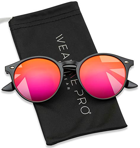 WearMe Pro Classic Small Round Retro Sunglasses, Black Frame / Mirror Pink/Purple